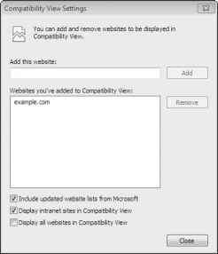 Compatibility View Settings Box